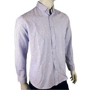 Blue & White Floral Flip Cuff Dress Shirt Size L